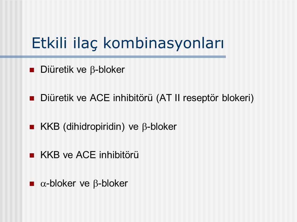 Etkili ilaç kombinasyonları Diüretik ve  -bloker Diüretik ve ACE inhibitörü (AT II reseptör blokeri) KKB (dihidropiridin) ve  -bloker KKB ve ACE inh