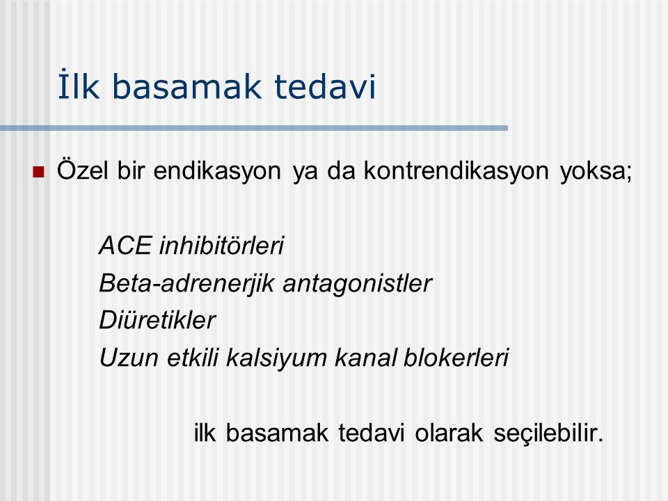 İlk basamak tedavi Özel bir endikasyon ya da kontrendikasyon yoksa; ACE inhibitörleri Beta-adrenerjik antagonistler Diüretikler Uzun etkili kalsiyum k