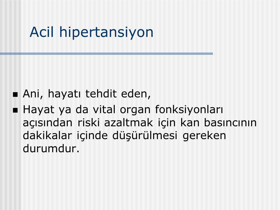 Acil hipertansiyon Ani, hayatı tehdit eden, Hayat ya da vital organ fonksiyonları açısından riski azaltmak için kan basıncının dakikalar içinde düşürü