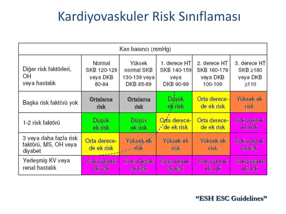 """Kardiyovaskuler Risk Sınıflaması """"ESH ESC Guidelines"""""""