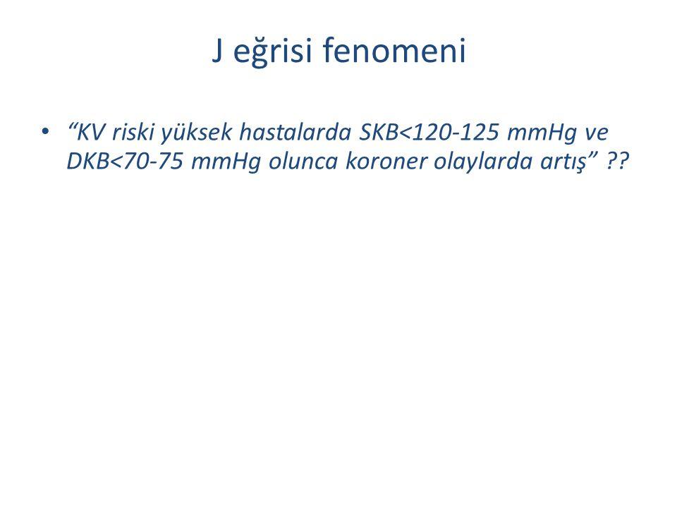 "J eğrisi fenomeni ""KV riski yüksek hastalarda SKB<120-125 mmHg ve DKB<70-75 mmHg olunca koroner olaylarda artış"" ??"
