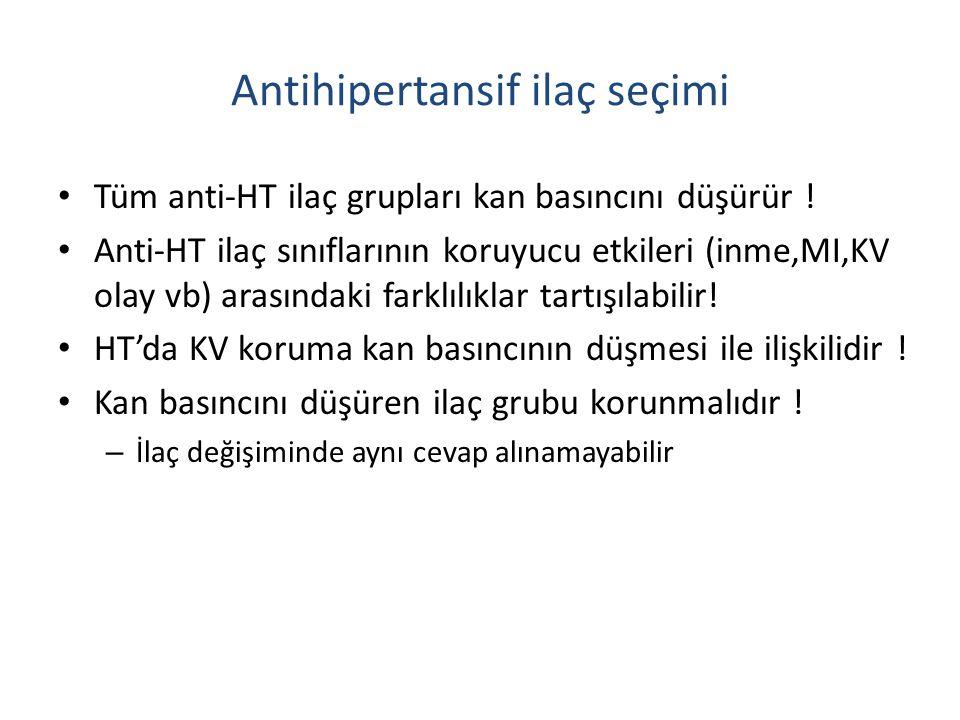 Antihipertansif ilaç seçimi Tüm anti-HT ilaç grupları kan basıncını düşürür ! Anti-HT ilaç sınıflarının koruyucu etkileri (inme,MI,KV olay vb) arasınd