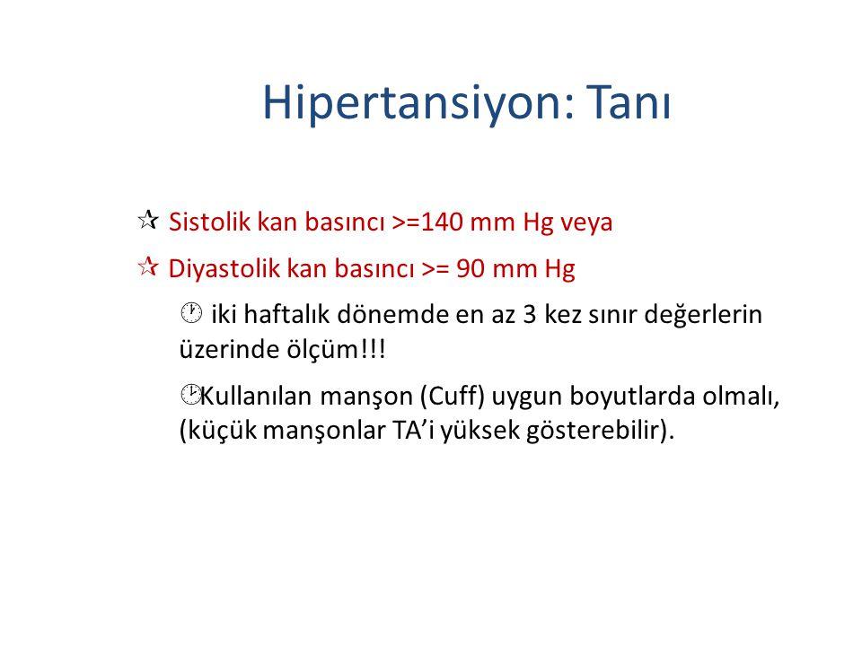  Sistolik kan basıncı >=140 mm Hg veya ¶ Diyastolik kan basıncı >= 90 mm Hg · iki haftalık dönemde en az 3 kez sınır değerlerin üzerinde ölçüm!!! ¸ K