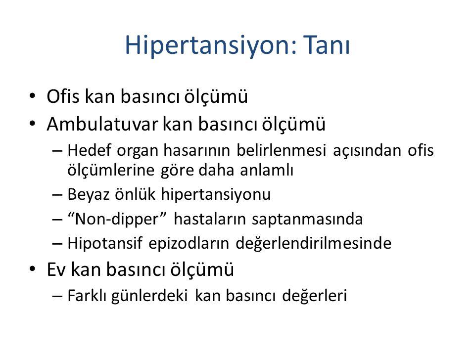 Hipertansiyon sınır değerleri Sistolik KB Diastolik KB Ofis veya klinik 14090 24 saat 125-13080 Gün içi 130-13585 Gece12070 Ev130-13585