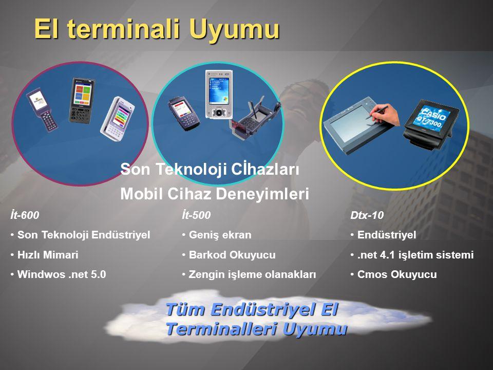 El terminali Uyumu İt-600 Son Teknoloji Endüstriyel Hızlı Mimari Windwos.net 5.0 Son Teknoloji Cİhazları Tüm Endüstriyel El Terminalleri Uyumu İt-500 Geniş ekran Barkod Okuyucu Zengin işleme olanakları Dtx-10 Endüstriyel.net 4.1 işletim sistemi Cmos Okuyucu Mobil Cihaz Deneyimleri