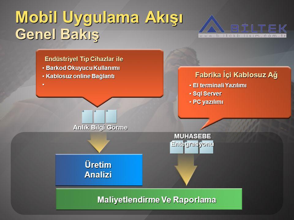 Endüstriyel Tip Cihazlar ile Barkod Okuyucu Kullanımı Barkod Okuyucu Kullanımı Kablosuz online Bağlantı Kablosuz online Bağlantı MUHASEBE Entegrasyonu Anlık Bilgi Görme Mobil Uygulama Akışı Genel Bakış Maliyetlendirme Ve Raporlama Üretim Analizi El terminali Yazılımı El terminali Yazılımı Sql Server Sql Server PC yazılımı PC yazılımı Fabrika İçi Kablosuz Ağ