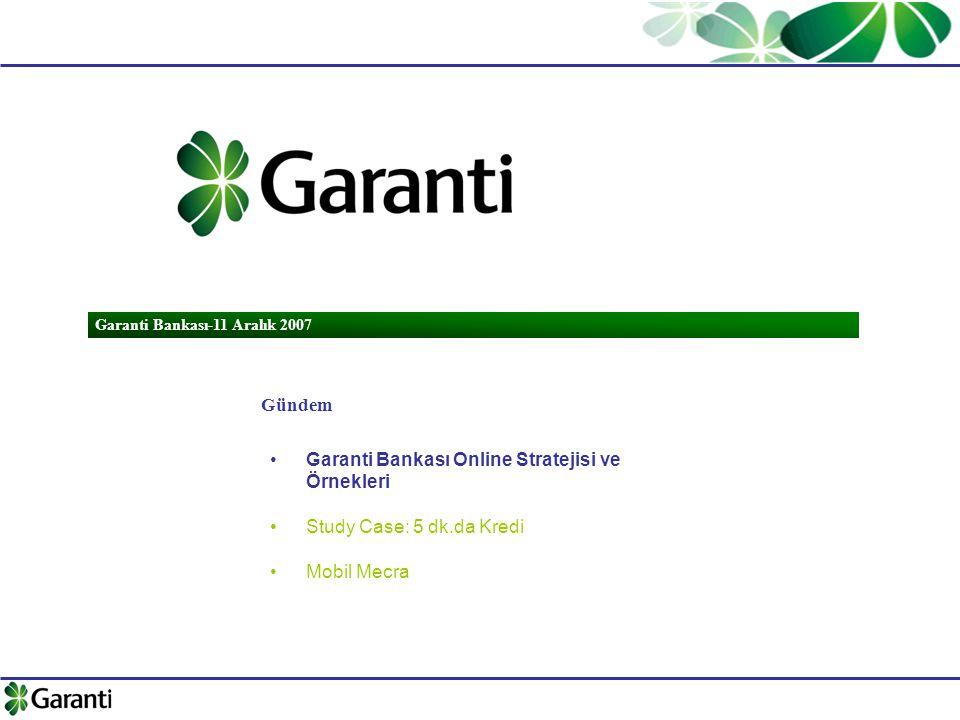 Garanti Bankası-11 Aralık 2007 Gündem Garanti Bankası Online Stratejisi ve Örnekleri Study Case: 5 dk.da Kredi Mobil Mecra