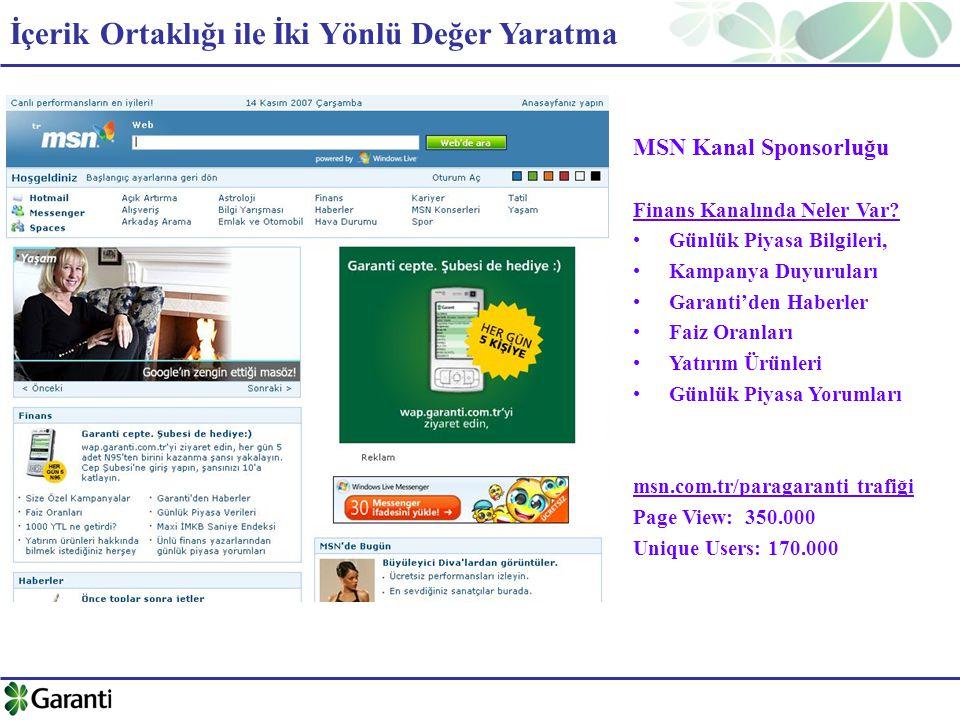 MSN Kanal Sponsorluğu Finans Kanalında Neler Var.