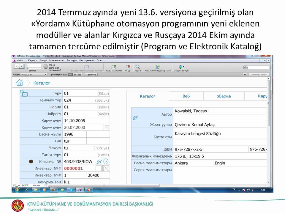 2014 Temmuz ayında yeni 13.6.