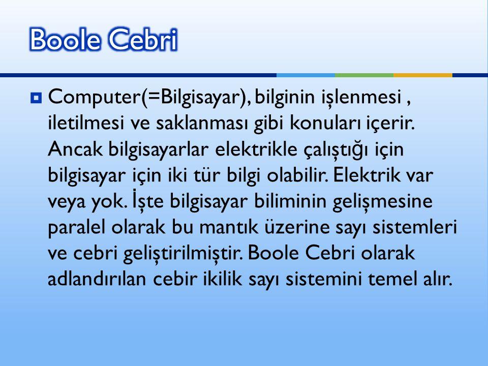  Computer(=Bilgisayar), bilginin işlenmesi, iletilmesi ve saklanması gibi konuları içerir. Ancak bilgisayarlar elektrikle çalıştı ğ ı için bilgisayar