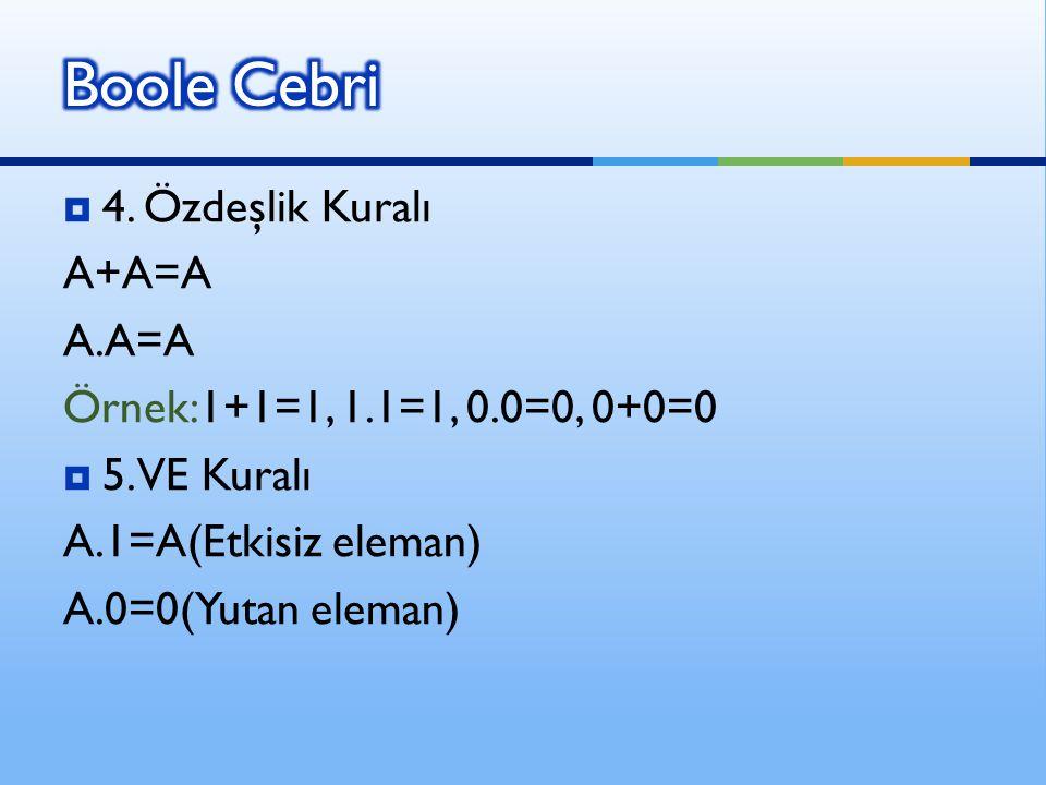  4. Özdeşlik Kuralı A+A=A A.A=A Örnek:1+1=1, 1.1=1, 0.0=0, 0+0=0  5. VE Kuralı A.1=A(Etkisiz eleman) A.0=0(Yutan eleman)