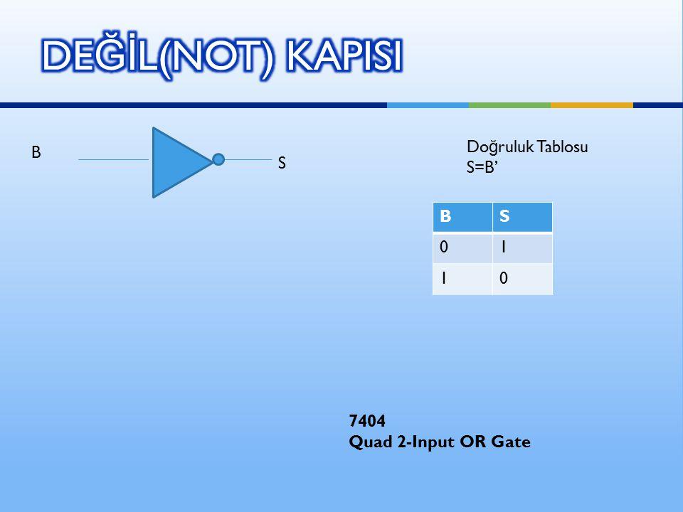 B S BS 01 10 Do ğ ruluk Tablosu S=B' 7404 Quad 2-Input OR Gate