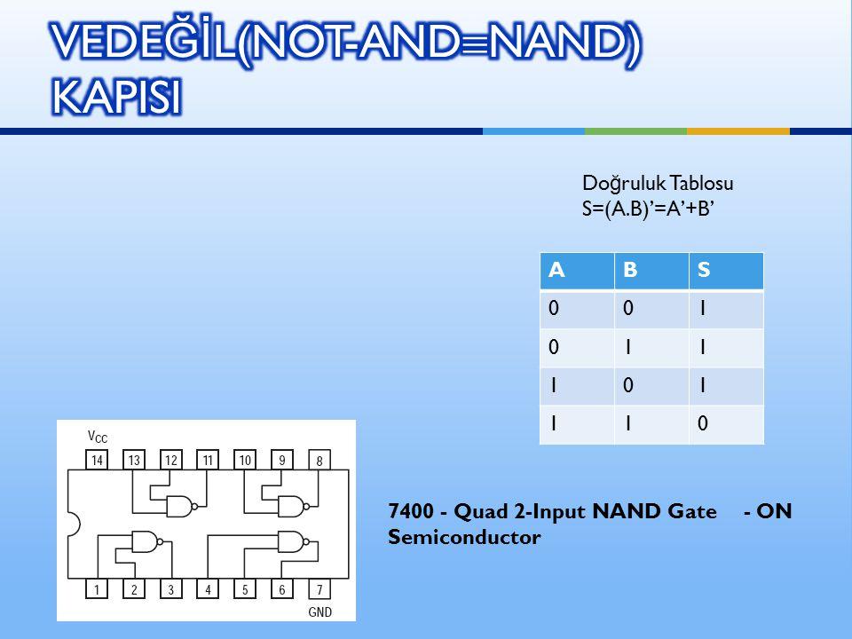 ABS 001 011 101 110 Do ğ ruluk Tablosu S=(A.B)'=A'+B' 7400 - Quad 2-Input NAND Gate - ON Semiconductor