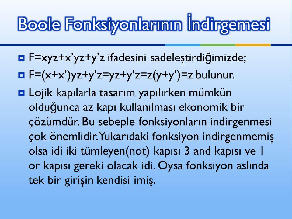  F=xyz+x'yz+y'z ifadesini sadeleştirdi ğ imizde;  F=(x+x')yz+y'z=yz+y'z=z(y+y')=z bulunur.  Lojik kapılarla tasarım yapılırken mümkün oldu ğ unca a