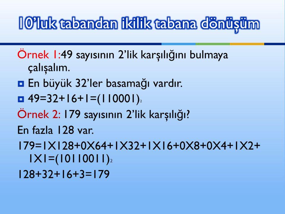 Örnek 1:49 sayısının 2'lik karşılı ğ ını bulmaya çalışalım.  En büyük 32'ler basama ğ ı vardır.  49=32+16+1=(110001) 2 Örnek 2: 179 sayısının 2'lik