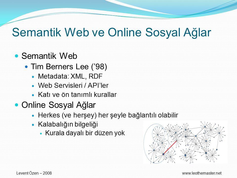 Semantik Web ve Online Sosyal Ağlar Semantik Web Tim Berners Lee ('98) Metadata: XML, RDF Web Servisleri / API'ler Katı ve ön tanımlı kurallar Online