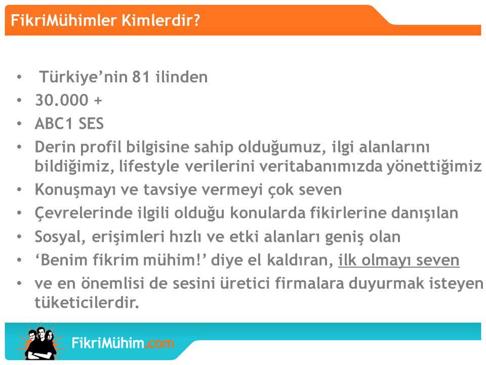 FikriMühimler Kimlerdir? Türkiye'nin 81 ilinden 30.000 + ABC1 SES Derin profil bilgisine sahip olduğumuz, ilgi alanlarını bildiğimiz, lifestyle verile