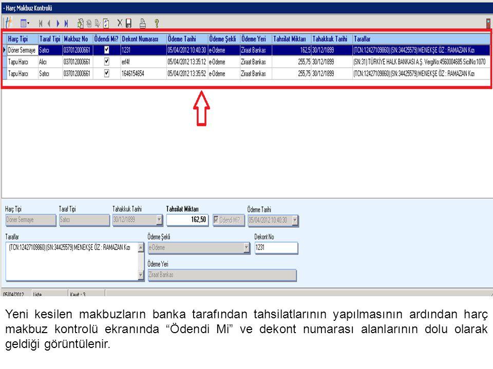 Tapu Harcı ve Döner Sermaye Sorgu menüsünden açılan Tapu Harcı ve Döner Sermaye Sorgulama ekranından, günlük olarak sorgulamalar yapılarak çıktılar alınabilir.