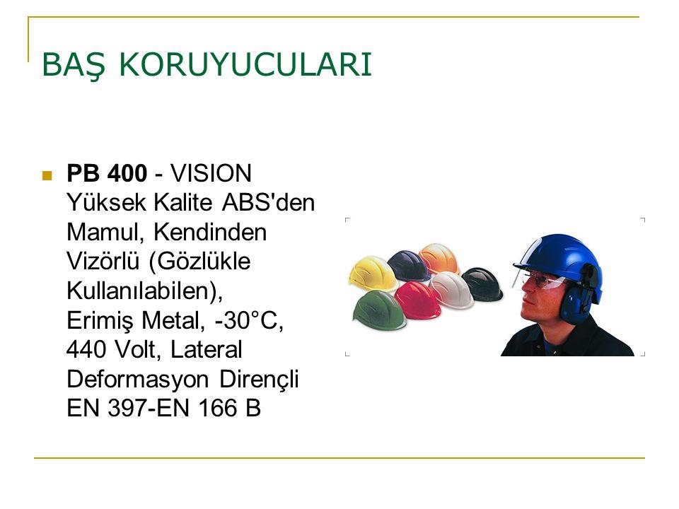 BAŞ KORUYUCULARI PB 400 - VISION Yüksek Kalite ABS'den Mamul, Kendinden Vizörlü (Gözlükle Kullanılabilen), Erimiş Metal, -30°C, 440 Volt, Lateral Defo