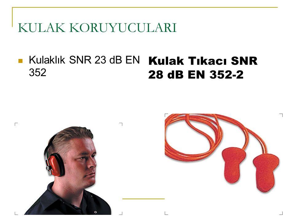 KULAK KORUYUCULARI Kulaklık SNR 23 dB EN 352 Kulak Tıkacı SNR 28 dB EN 352-2