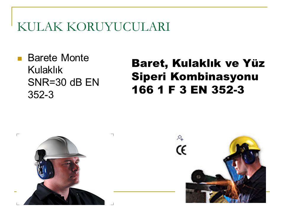 KULAK KORUYUCULARI Baret, Kulaklık ve Yüz Siperi Kombinasyonu 166 1 F 3 EN 352-3 Barete Monte Kulaklık SNR=30 dB EN 352-3
