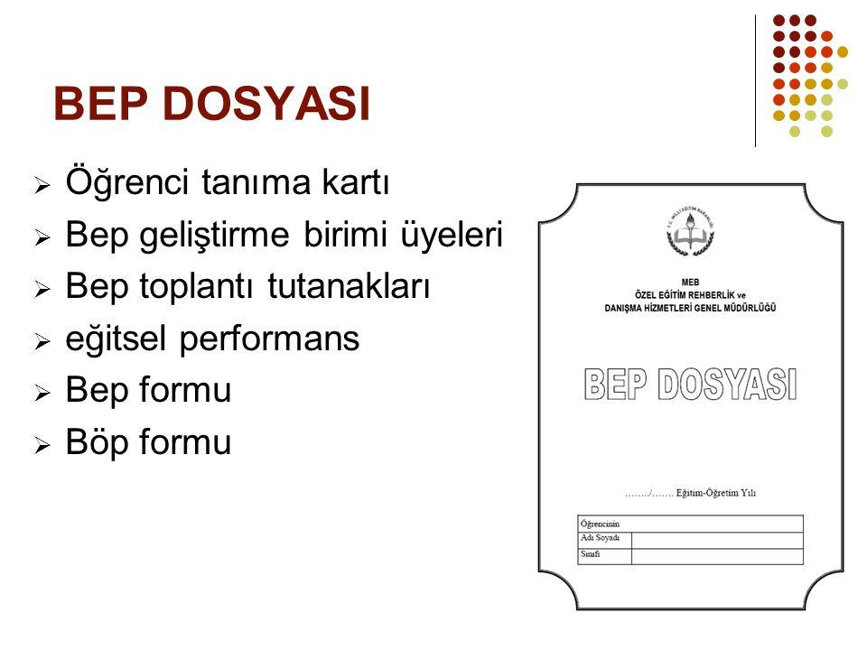 BEP DOSYASI  Öğrenci tanıma kartı  Bep geliştirme birimi üyeleri  Bep toplantı tutanakları  eğitsel performans  Bep formu  Böp formu