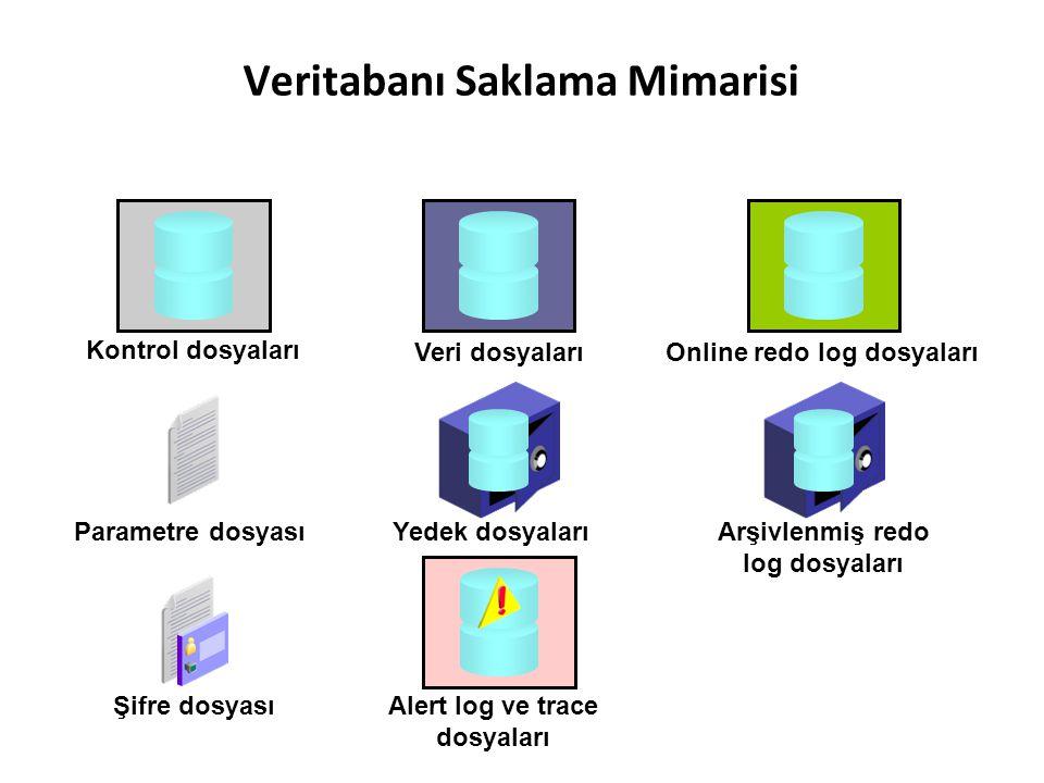 Veritabanı Saklama Mimarisi Online redo log dosyaları Şifre dosyası Parametre dosyasıArşivlenmiş redo log dosyaları Kontrol dosyaları Veri dosyaları A