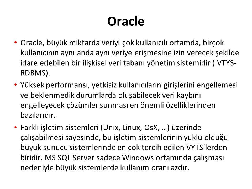 Veritabanı (diskte) Veri Dosyaları Online redo log dosyaları Kontrol Dosyaları Oracle Veritabanı Mimarisi: Genel Bakış Database buffer cache Shared pool Data dictionary cache Library cache PMONSMON Others Server process PGA Arşivlenmiş log dosyaları User process Instance (RAM de) ARCn SGA DBWn Redo log buffer LGWRCKPT Kullanıcı işlemi Sunucu işlemi