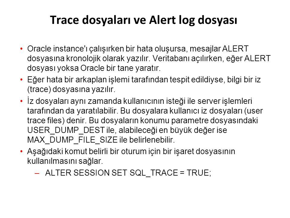 Mantıksal ve Fiziksel Veritabanı Yapıları Database MantıksalFiziksel Tablespace Data file OS block Segment Extent Oracle data block Schema