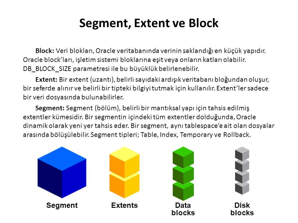 Block: Veri blokları, Oracle veritabanında verinin saklandığı en küçük yapıdır. Oracle block'ları, işletim sistemi bloklarına eşit veya onların katlar