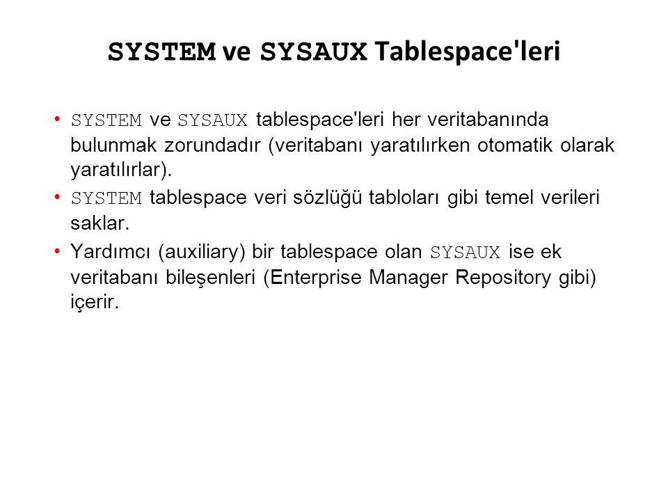 SYSTEM ve SYSAUX Tablespace'leri SYSTEM ve SYSAUX tablespace'leri her veritabanında bulunmak zorundadır (veritabanı yaratılırken otomatik olarak yarat