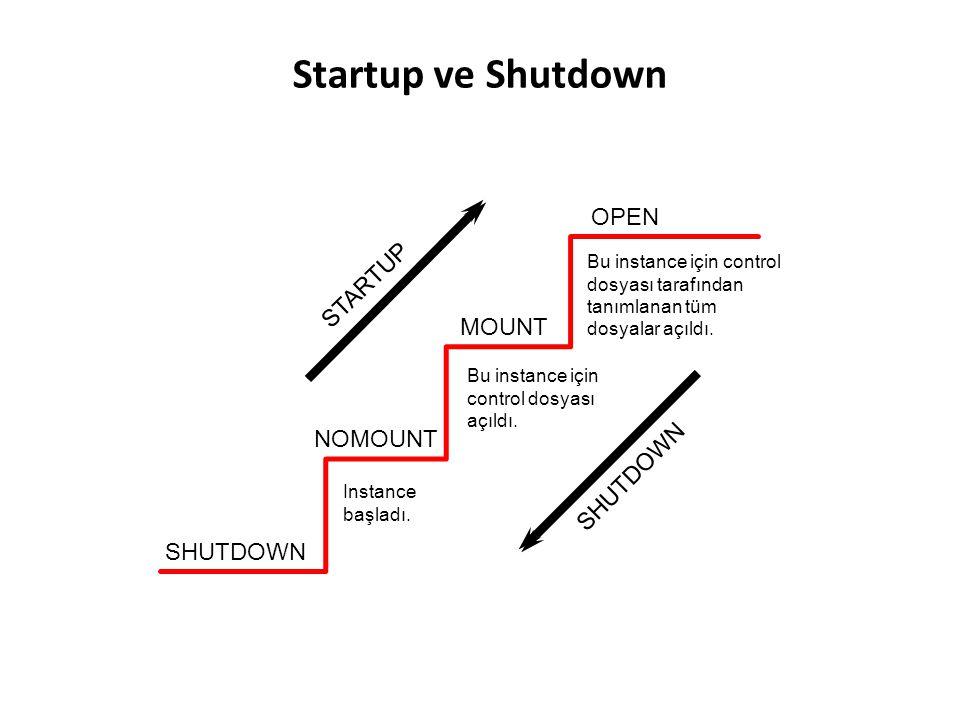 T Shutdown modu: A AbortI Immediate T TransactionalN Normal Shutdown Seçenekleri I AShutdown Modu Yeni bağlantılara izin verme Session'ların bitmesini bekleme Transaction'ların bitmesini bekleme Checkpoint ile tüm dosyaları kapama N