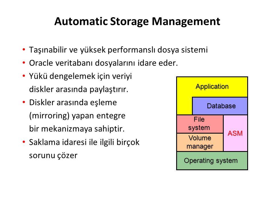 Automatic Storage Management Taşınabilir ve yüksek performanslı dosya sistemi Oracle veritabanı dosyalarını idare eder.