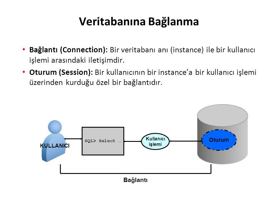 Veritabanına Bağlanma Bağlantı (Connection): Bir veritabanı anı (instance) ile bir kullanıcı işlemi arasındaki iletişimdir. Oturum (Session): Bir kull