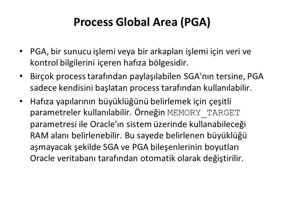 İşlem (Process) Mimarisi Kullanıcı işlemi – Bir kullanıcı veya işlem Oracle veritabanına bağlandığı anda başlatılır Veritabanı işlemleri – Sunucu işlemi: Oracle instance ına bağlanır ve bir kullanıcı oturum açtığında başlatılır – Arkaplan işlemleri: Bir Oracle instance ı başlatıldığında başlatılırlar PMONSMONOthers Instance ARCn DBWn LGWRCKPT PGA User process Server process Arkaplan İşlemleri Database buffer cache Shared pool Data dictionary cache Library cache SGA Redo log buffer Kullanıcı işlemi Sunucu işlemi