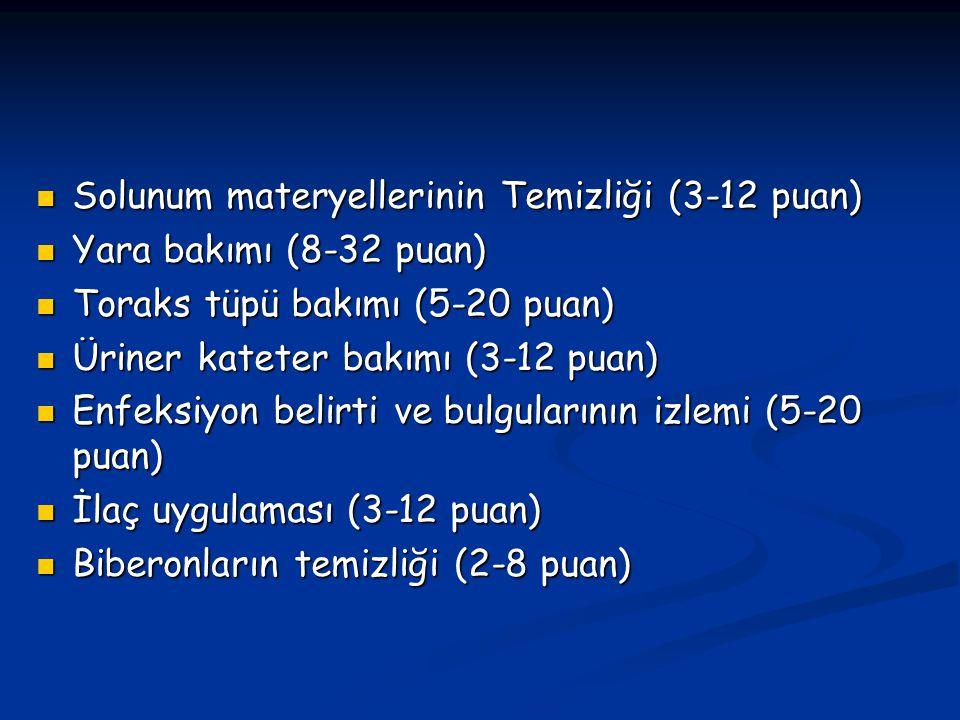 Solunum materyellerinin Temizliği (3-12 puan) Solunum materyellerinin Temizliği (3-12 puan) Yara bakımı (8-32 puan) Yara bakımı (8-32 puan) Toraks tüp