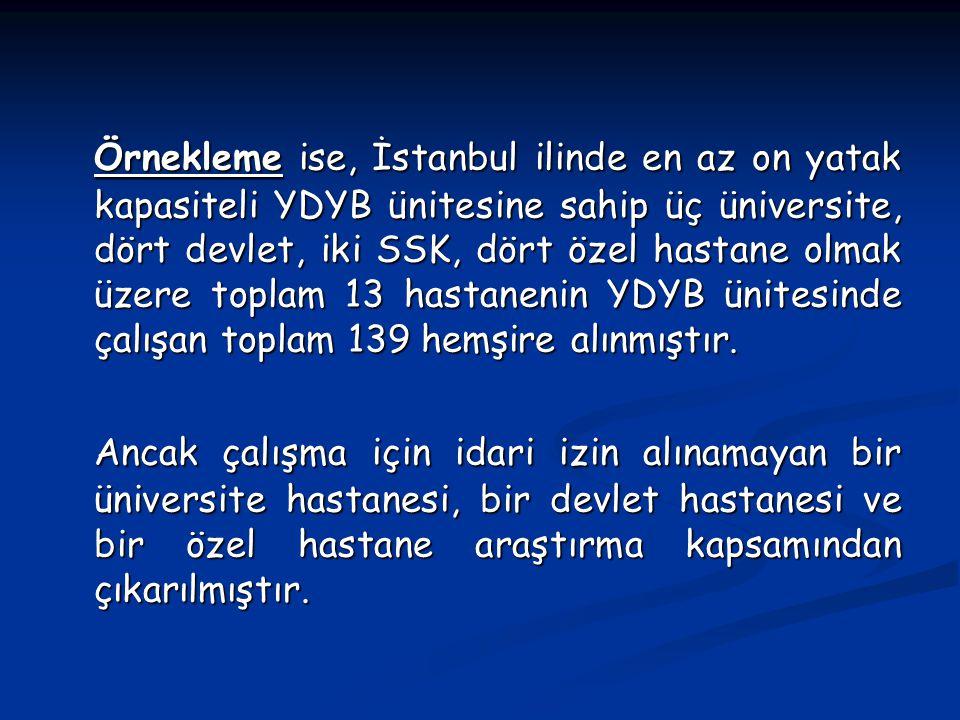 Örnekleme ise, İstanbul ilinde en az on yatak kapasiteli YDYB ünitesine sahip üç üniversite, dört devlet, iki SSK, dört özel hastane olmak üzere topla