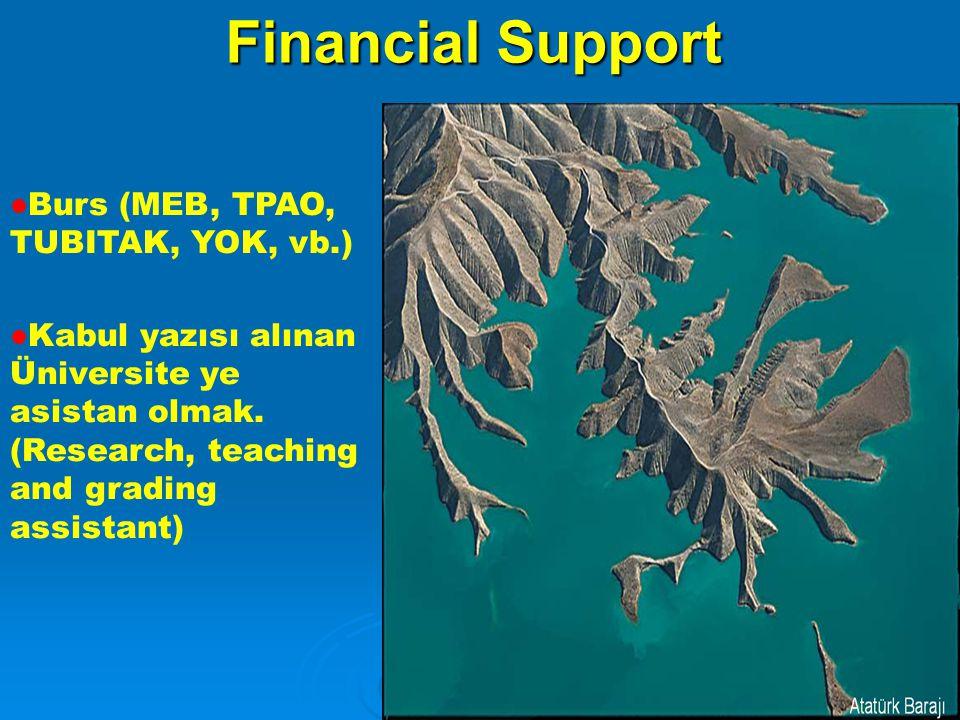 Financial Support Burs (MEB, TPAO, TUBITAK, YOK, vb.) Kabul yazısı alınan Üniversite ye asistan olmak.