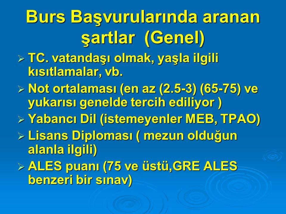 Burs Başvurularında aranan şartlar (Genel)  TC.vatandaşı olmak, yaşla ilgili kısıtlamalar, vb.