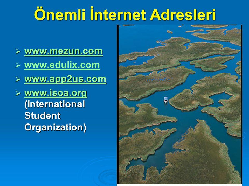 Önemli İnternet Adresleri  www.mezun.com www.mezun.com   www.edulix.com www.edulix.com  www.app2us.com www.app2us.com  www.isoa.org (International Student Organization) www.isoa.org
