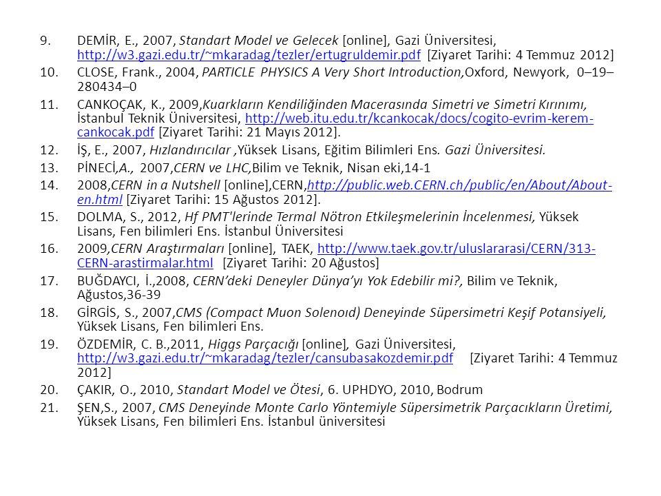9.DEMİR, E., 2007, Standart Model ve Gelecek [online], Gazi Üniversitesi, http://w3.gazi.edu.tr/~mkaradag/tezler/ertugruldemir.pdf [Ziyaret Tarihi: 4