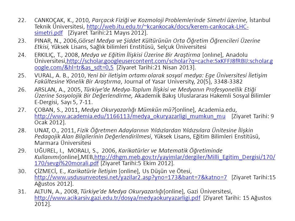 22.CANKOÇAK, K., 2010, Parçacık Fiziği ve Kozmoloji Problemlerinde Simetri üzerine, İstanbul Teknik Üniversitesi, http://web.itu.edu.tr/~kcankocak/doc