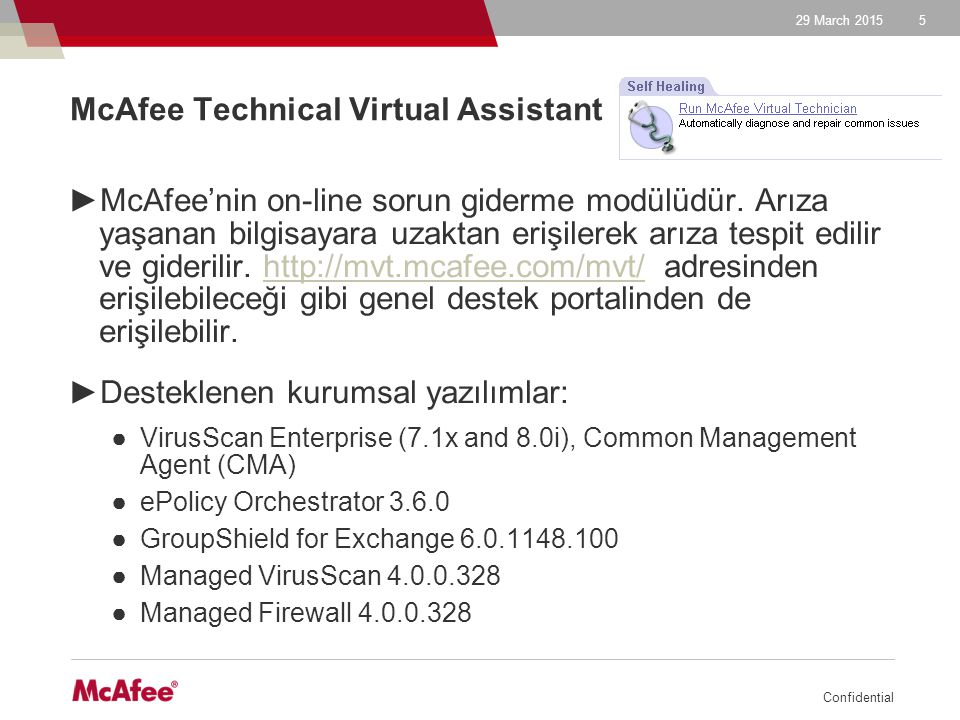 29 March 2015 Confidential 6 McAfee Technical Virtual Assistant