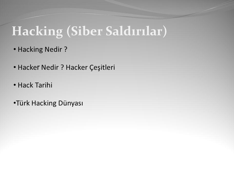 Hack Tarihi 1960 lar: Hack in doğuşu 1970 ler: Telefon hacker ları 1983: Çocuk oyunları 1984: Hacker dergileri 1986: Bilgisayar kullan, hapse gir 1988: Morris virüsü 1989: Almanlar ve KGB 1990: Sundevil Operasyonu 1993: Hack etmek varken neden araba çalayım.