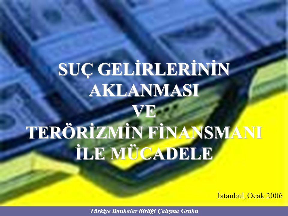Türkiye Bankalar Birliği Çalışma Grubu ŞÜPHELİ İŞLEM TİPLERİ Hesap bakiyelerinde anormal artış olması Müşterinin sürekli iş yaptığı ve para gönderdiği adreslerin bir anda değişmesi ve bu hesap ve adreslere yönelik büyük bir para akımının başlaması Genelde bir hesap kullanılmaksızın yurtdışına veya yurtdışından yurtiçine önemli miktarda yada çok sık aralıklarla para transferi yapılması Hesap kullanılmaksızın sıklıkla EFT ve havale yapılması Aynı hesapta olabilecek tutarların parçalara ayrılmış biçimde farklı hesaplarda tutulması Yapılan veya gelen EFT ve havalelerin nakit olarak ödenmesinin istenmesi İşlem tutarının bildirim yapılmayacak tutarlarda olmasına özen gösterilmesi