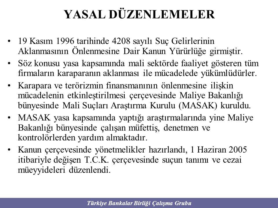 Türkiye Bankalar Birliği Çalışma Grubu YASAL DÜZENLEMELER 19 Kasım 1996 tarihinde 4208 sayılı Suç Gelirlerinin Aklanmasının Önlenmesine Dair Kanun Yür