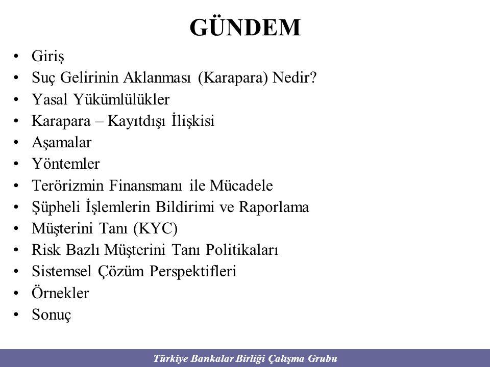 Türkiye Bankalar Birliği Çalışma Grubu GÜNDEM Giriş Suç Gelirinin Aklanması (Karapara) Nedir? Yasal Yükümlülükler Karapara – Kayıtdışı İlişkisi Aşamal