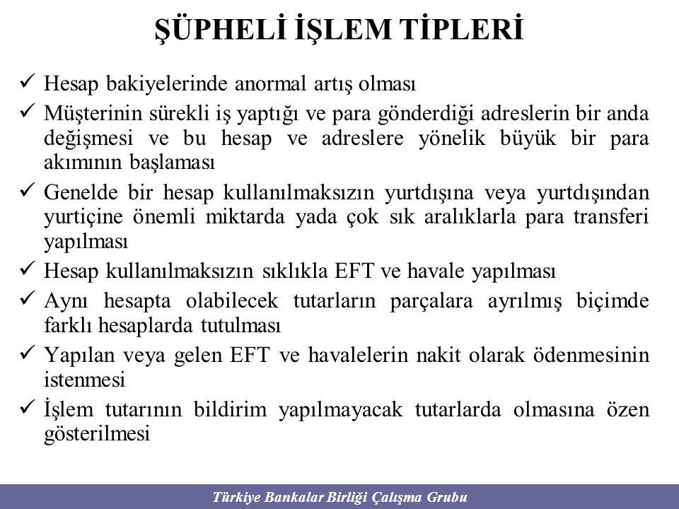 Türkiye Bankalar Birliği Çalışma Grubu ŞÜPHELİ İŞLEM TİPLERİ Hesap bakiyelerinde anormal artış olması Müşterinin sürekli iş yaptığı ve para gönderdiği