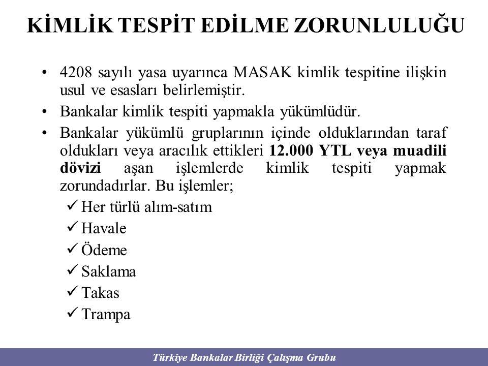 Türkiye Bankalar Birliği Çalışma Grubu KİMLİK TESPİT EDİLME ZORUNLULUĞU 4208 sayılı yasa uyarınca MASAK kimlik tespitine ilişkin usul ve esasları beli