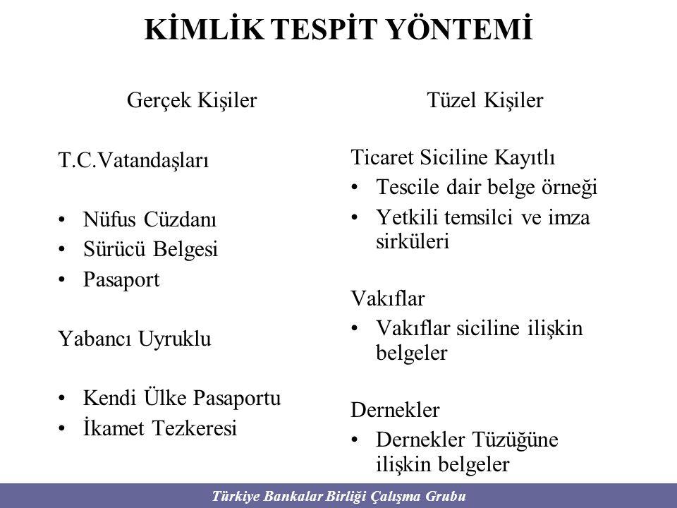 Türkiye Bankalar Birliği Çalışma Grubu KİMLİK TESPİT YÖNTEMİ Gerçek Kişiler T.C.Vatandaşları Nüfus Cüzdanı Sürücü Belgesi Pasaport Yabancı Uyruklu Ken